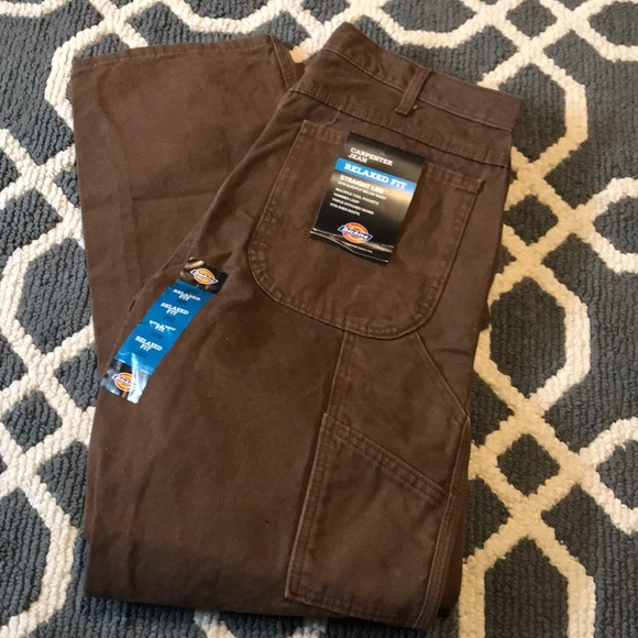 NWT Mens Dark Blue Wash Dickies Relaxed Fit Carpenter Jeans Size 32 x 30 NWT